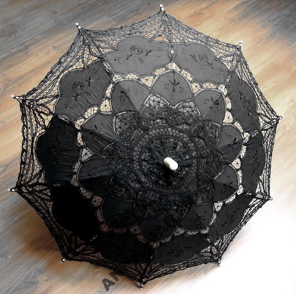 Czarna, koronkowa parasolka