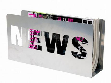 Stojak na gazety NEWS srebrny