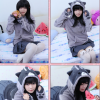 Japanese cute cat hooded jacket coat