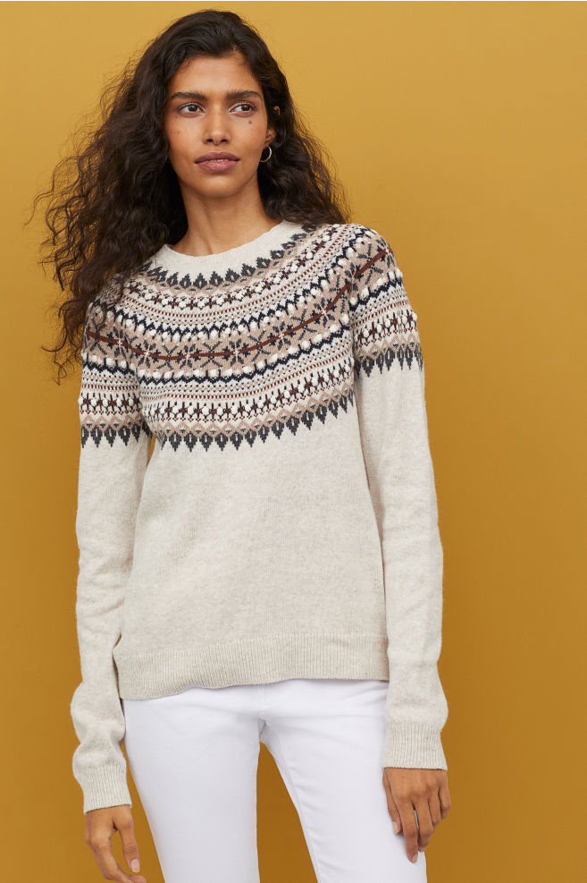 Sweter beżowy wzór norweski XS