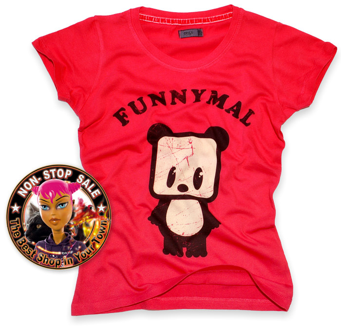 T-Shirt ONLY czerwona panda FUNNYMALS skate emo S (716384969) - Aukcje internetowe Allegro
