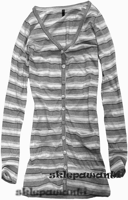Długi sweter A&C w paski (szary)