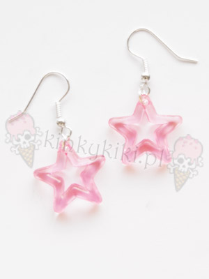 Kolczyki Gwiazdki mini rozowe