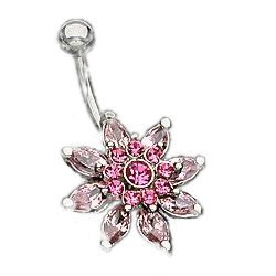 kolczyk do pępka - różowy kwiat