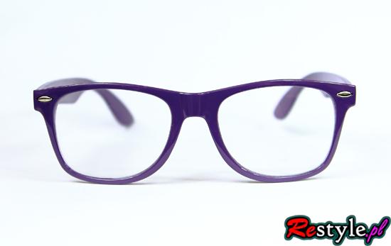 Okulary wayfarer nerd zerówki FIOLETOWE