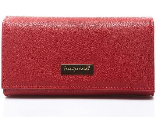 DUŻY czerwony ELEGANCKI skórzany portfel damski XL