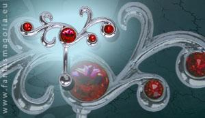 Kolczyk do pępka czerwona spiralka