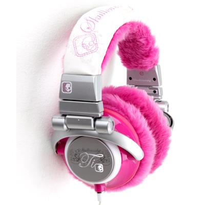 Słuchawki z różowym futerkiem