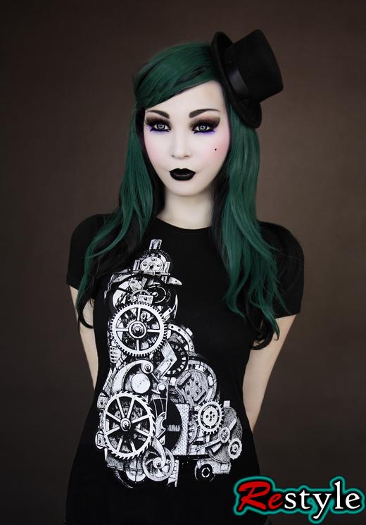 Czarna koszulka mechanizm steampunk