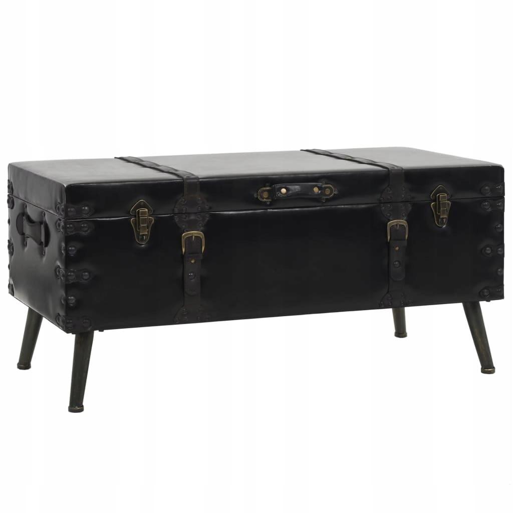 Czarny stolik kawowy walizka retro vintage