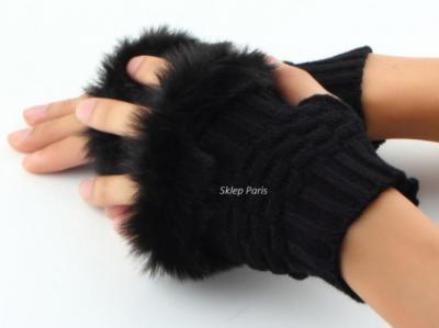 Puchate rękawiczki bez palców