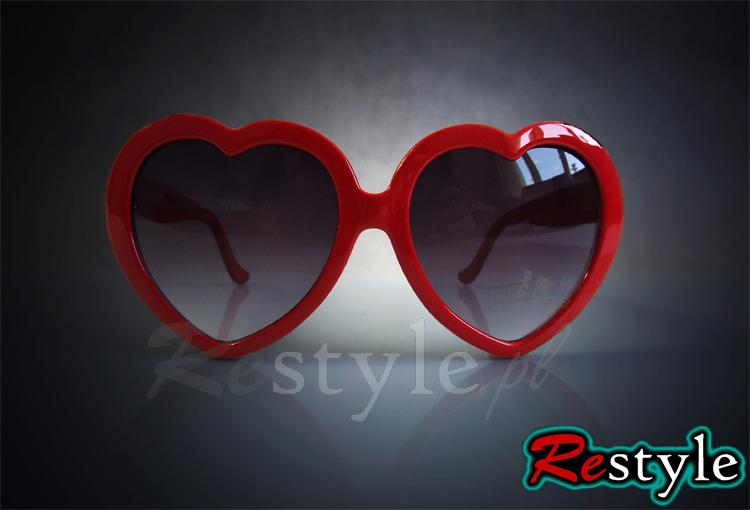 Okulary serduszka czerwone przeciwsłoneczne