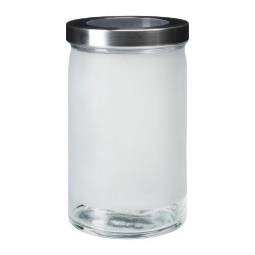 DROPPAR Słoik z pokrywką, szkło matowe, stal nierdz. (1,8 l)