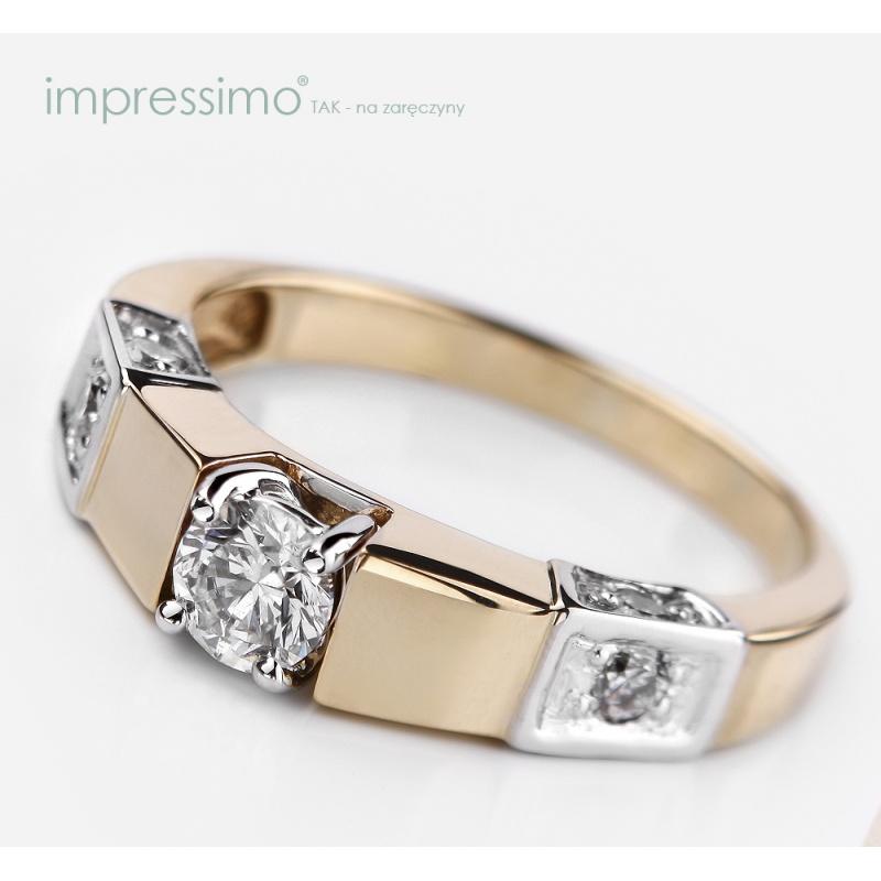 Pierścionek zaręczynowy z 3 brylantami - Impressimo