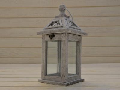 DREWNIANA LATARNIA LAMPION SHABBY RETRO 31CM