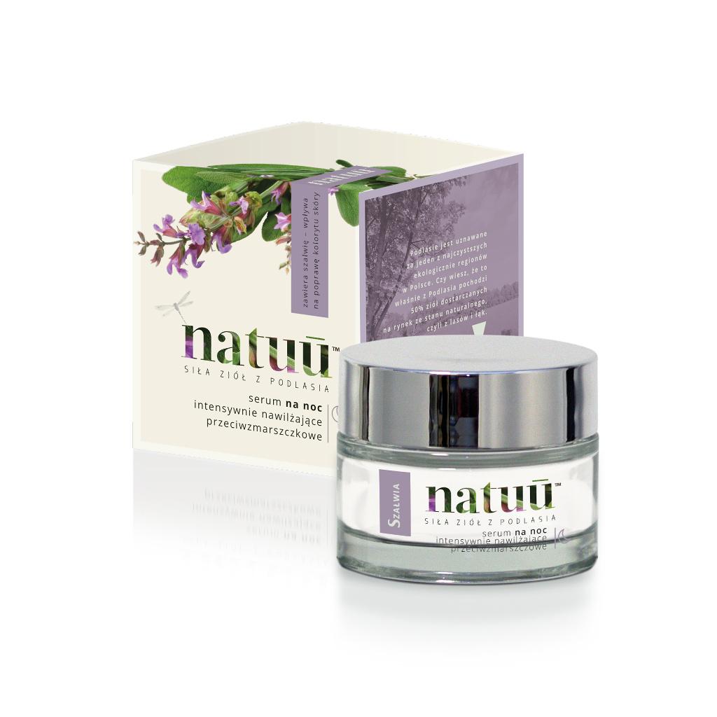NATUU Serum na noc intensywnie nawilżające przeciwzmarszczkowe z ekstraktem z szałwii