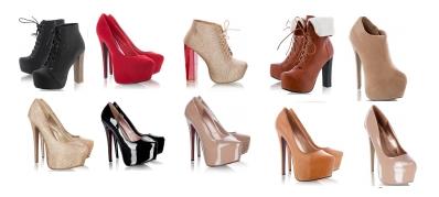kolekcja wysokich butów na obcasie