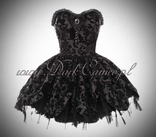 HELL BUNNY PETAL BLACK GOTH VICTORIAN MINI PROM DRESS
