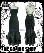 sukienka  Black Long Bustle Hobble Gothic Victorian Dress