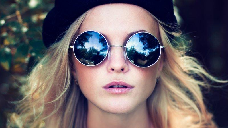 Okulary lenonki niebieskie