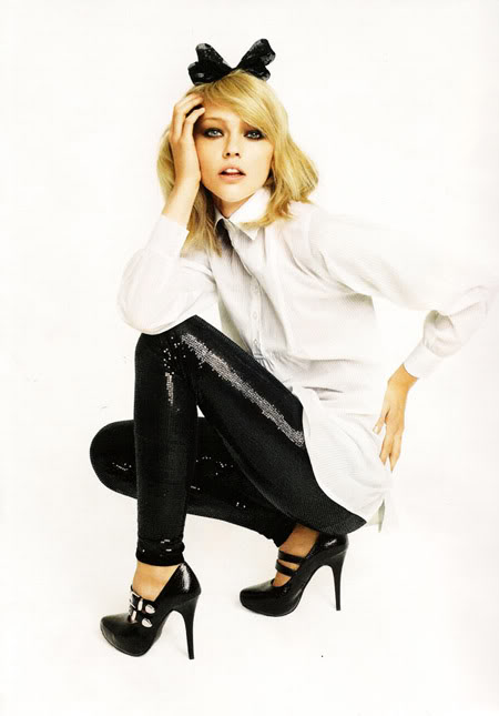 Czarne legginsy z cekinami :D