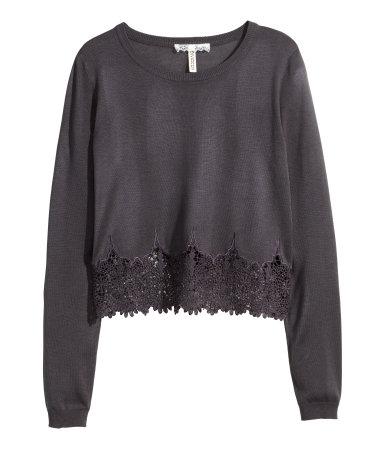 Sweter z koronkowym brzegiem H&M