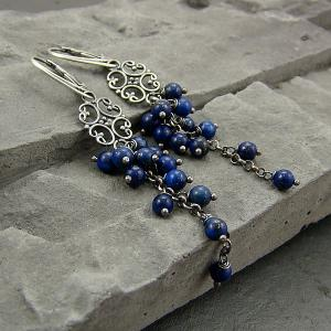 RayOfArt - Srebro kolczyki lapis lazuli