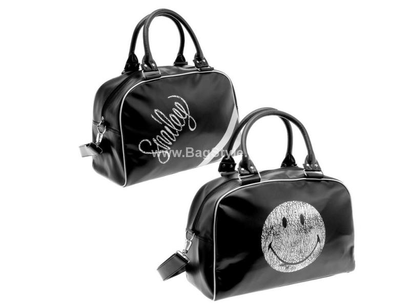 SMILEY Ekstrawagancka oldschoolowa torba na ramię (czarno-srebrna)