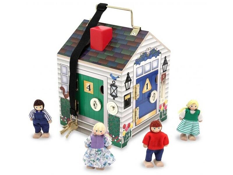 Drewniany Domek Edukacyjny Dźwiękowy Zamki Klucze