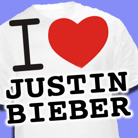 koszulka z napisem i ♥ Justin Bieber !!