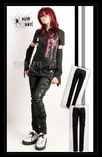 Spodnie rurki z klamrami/K-105 Punk Rave