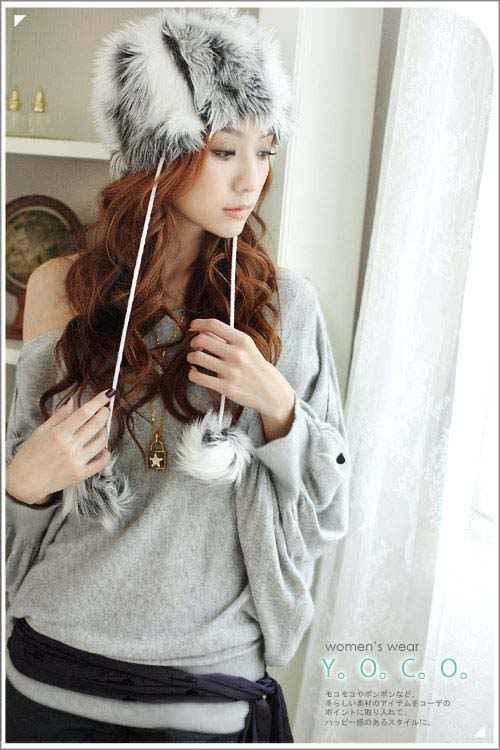 Japan Style Bluzka nietoperz szara
