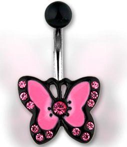 kolczyk do pępka - różowy motylek