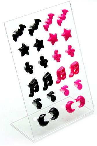 Kolczyki czarne-różowe 12par