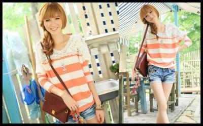 82503 Urocza Bluzka Bluza Paski Orange Japan Style