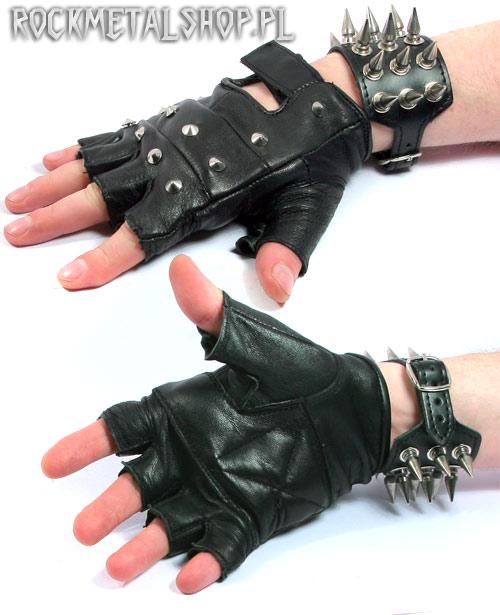 Rękawice skórzane bez palców z ćwiekami