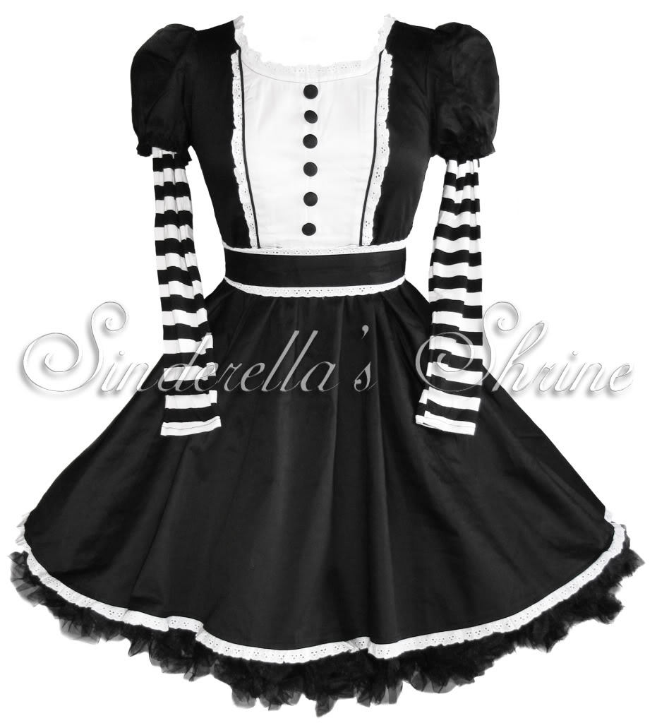 Hell Bunny Black Stripey ~ALiCe~ In Wonderland Cute Lolita Dress GOTH