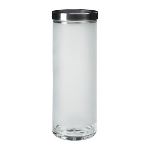 DROPPAR Słoik z pokrywką, szkło matowe, stal nierdz. (1,5l)