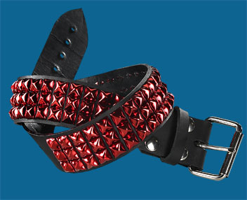 Red Pyramid 3-Row Black Leather Belt