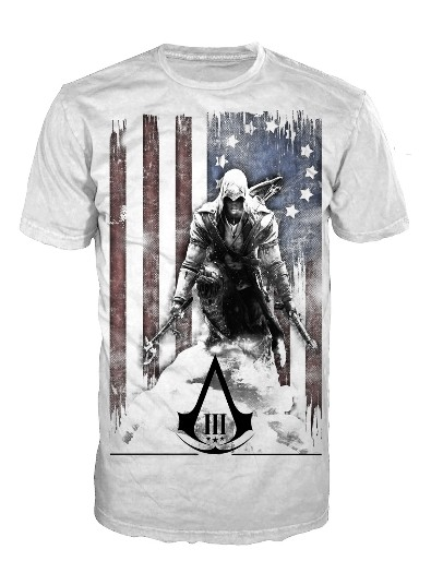 Koszulka Assassins Creed III White, Flag and Connor