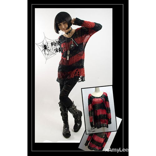 Sweter punk rave pasy