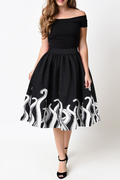 Fashion Fish Pattern Trim Elastic Waist Basic Midi Flare Skirt