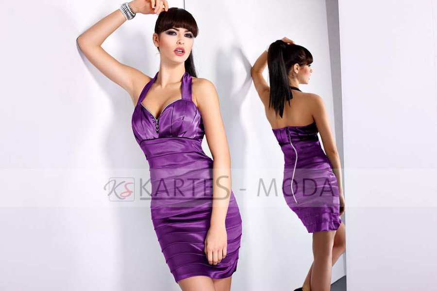 Sukienka z zamkami fioletowa - karteS 197