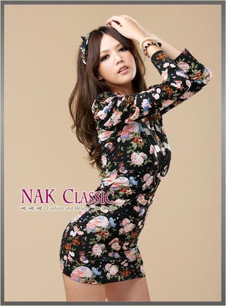 Sukienka w kwiaty zip Japan Style