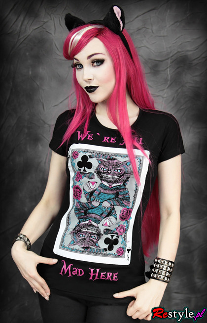 czarny t-shirt We're All Mad Here cheshire cat karta z kotem