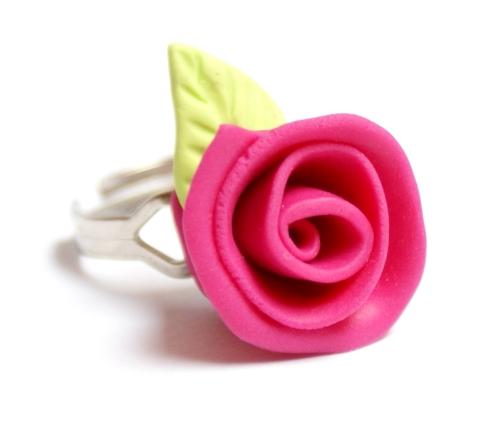 Pierścionek kwiatek z materiału