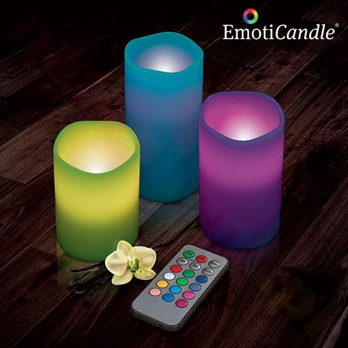 Trzy świece LED z prawdziwego wosku