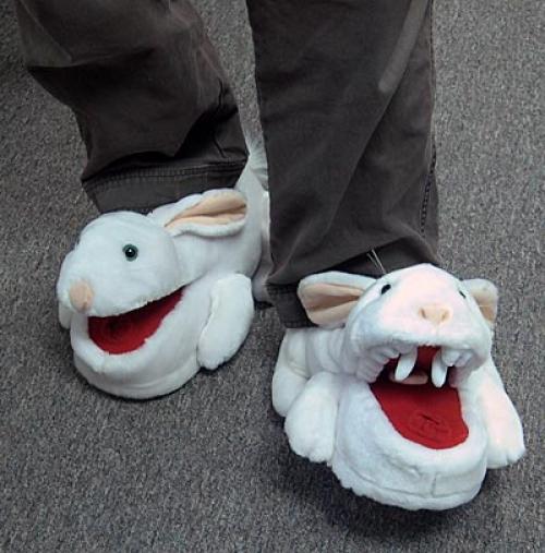 Wielkie puchate kapcie króliki!