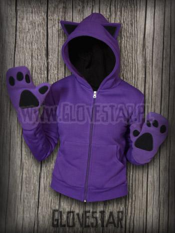bluza kotek fiolet + łapki