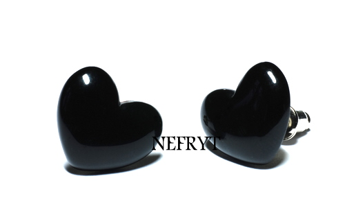 Kolczyki serca (czarne)